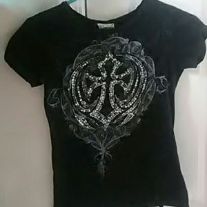Black jeweled t-shirt